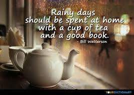 """Rainy days should be spent at home with a cup of tea and a good book"" - Bill Watterson"